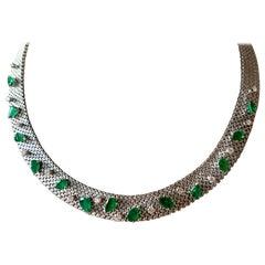 1970 18 Karat White Gold Vintage Emerald and Diamond Necklace