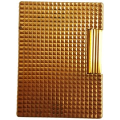 1970 18 Karat Yellow Gold St. Dupont Lighter, Gold Filled, Diamond Head Pattern