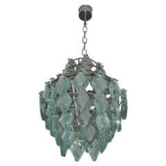 1970-1980 Italian Glass Chandelier by Zero Quattro
