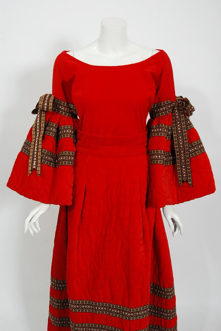 Vintage 1969 Adolfo Couture Red Embroidered Velvet Bell-Sleeve Top & Maxi Skirt In Good Condition For Sale In Beverly Hills, CA