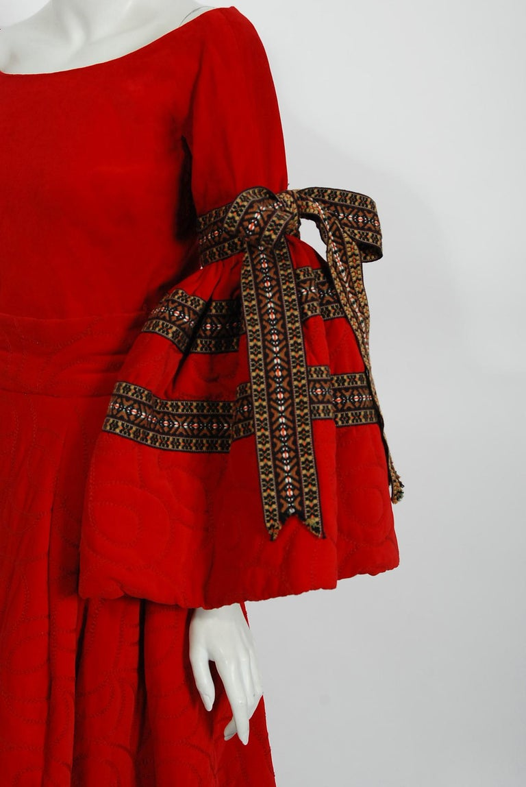 Women's Vintage 1969 Adolfo Couture Red Embroidered Velvet Bell-Sleeve Top & Maxi Skirt For Sale