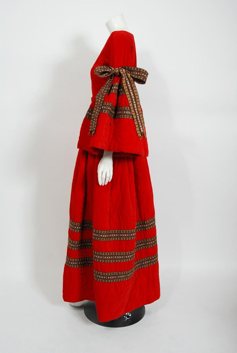 Vintage 1969 Adolfo Couture Red Embroidered Velvet Bell-Sleeve Top & Maxi Skirt For Sale 2