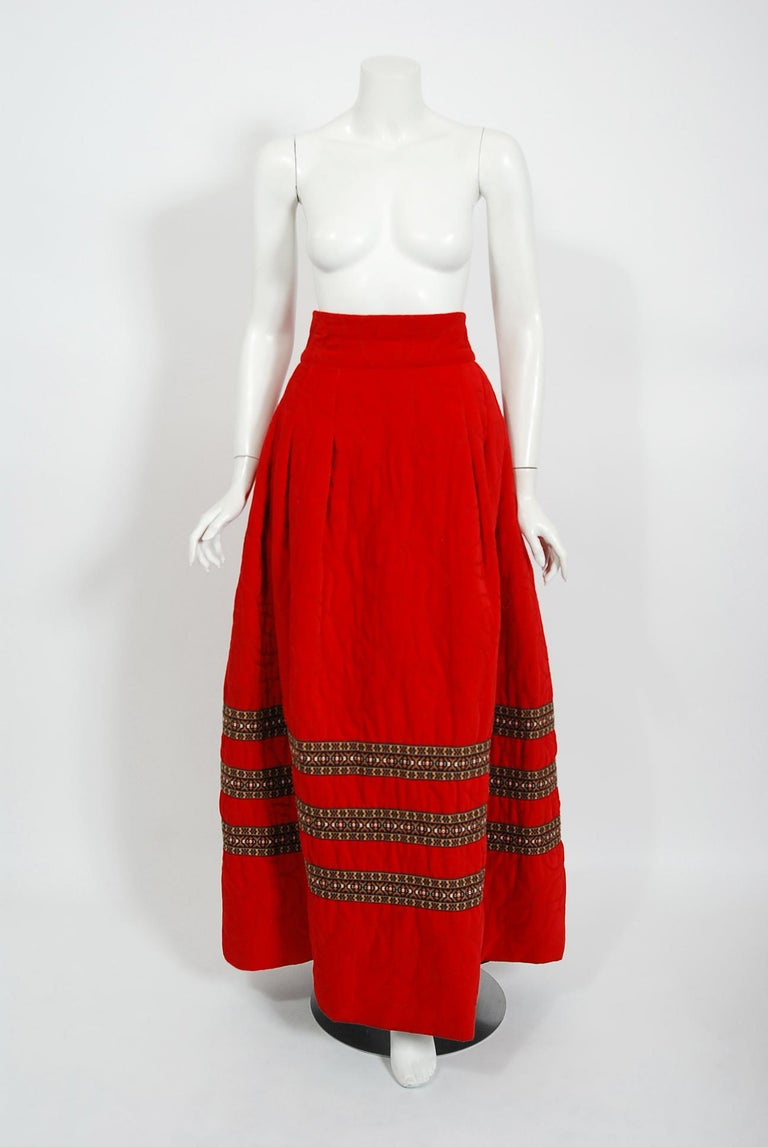 Vintage 1969 Adolfo Couture Red Embroidered Velvet Bell-Sleeve Top & Maxi Skirt For Sale 3