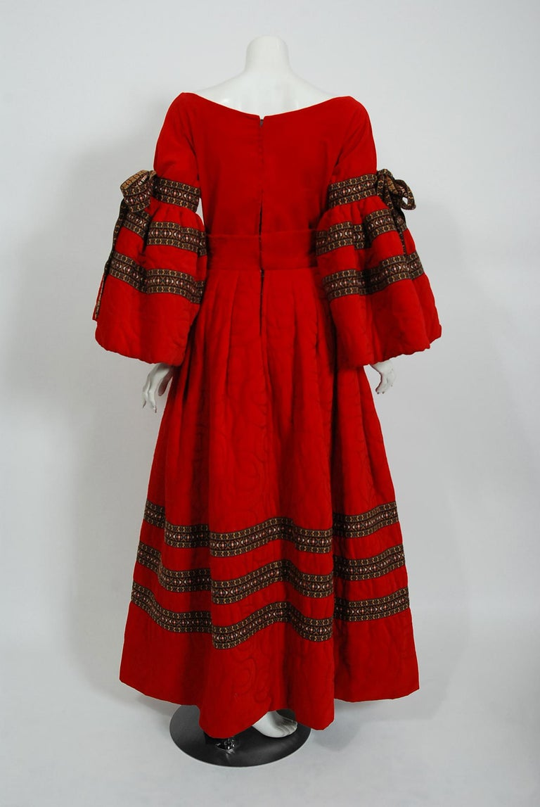 Vintage 1969 Adolfo Couture Red Embroidered Velvet Bell-Sleeve Top & Maxi Skirt For Sale 4