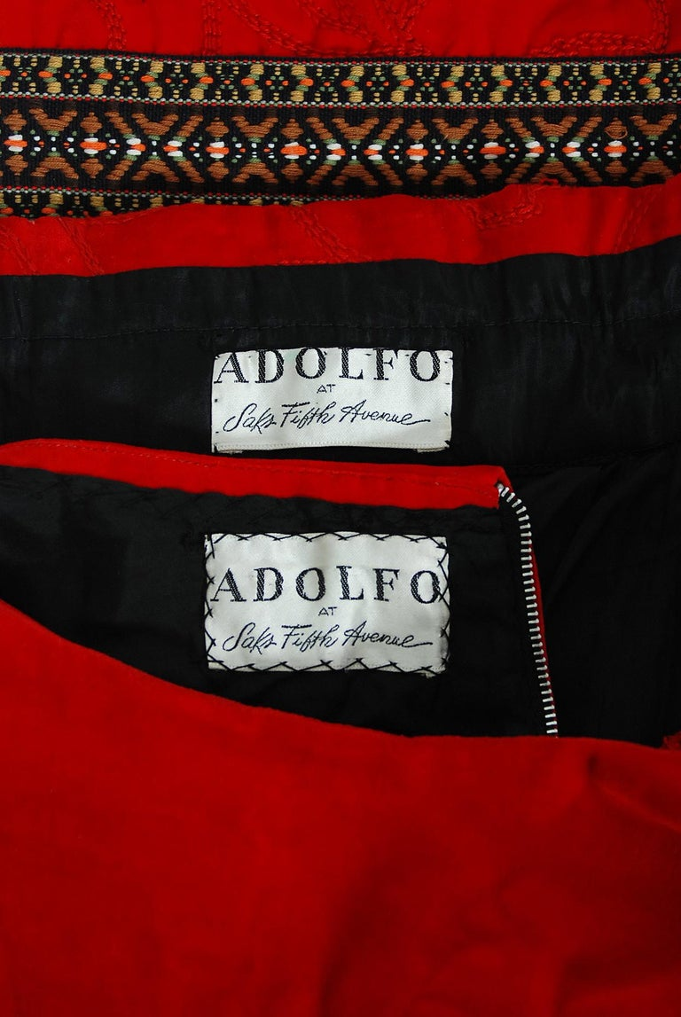Vintage 1969 Adolfo Couture Red Embroidered Velvet Bell-Sleeve Top & Maxi Skirt For Sale 5