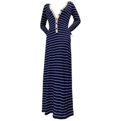 1970 Adolfo Sailor Stripe Navy & Cream  Knit Maxi Dress W/ Button Front
