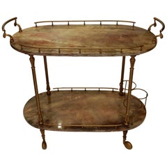 1970 Aldo Tura Rolling Bar Neoclassical Gilt Bronze with Goat Skin Vernished