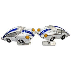 1970 American Racing Color 911 Porsche Hand Enameled Sterling Silver Cufflinks
