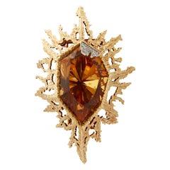 1970 Andrew Grima Brazilian Topaz Diamond Gold Pendant Brooch