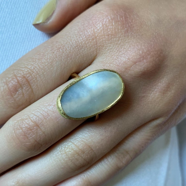 Modern 1970 Andrew Grima Mabe Pearl and Gold Ring For Sale