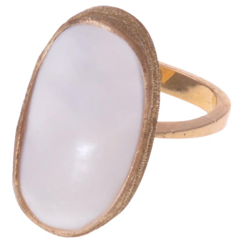 1970 Andrew Grima Mabe Pearl and Gold Ring