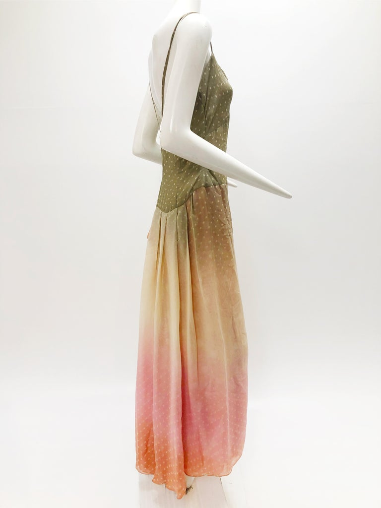 A slinky, gorgeous 1970s Bill Blass ombre polka-dot silk chiffon gown:  A beautiful taupe to pink ombre 4-layer flowing skirt with a spaghetti strap bodice. Back zipper. Modern size 8.