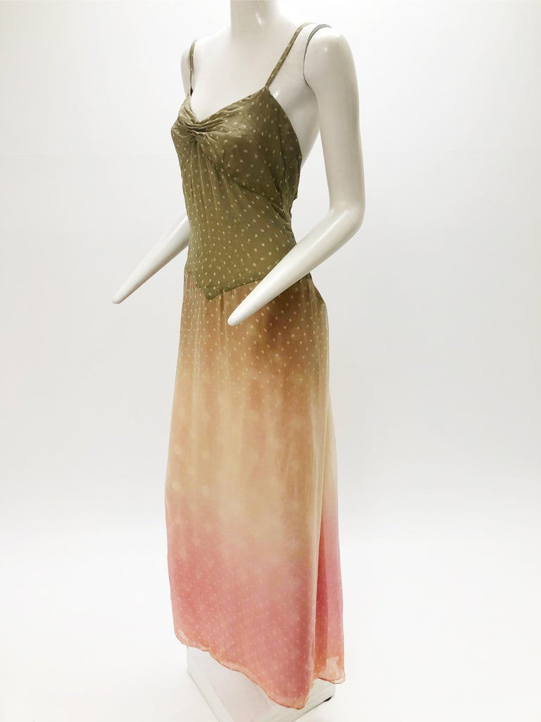 Brown 1970 Bill Blass Ombré Polka Dot Silk Chiffon Gown in Taupe and Pink For Sale