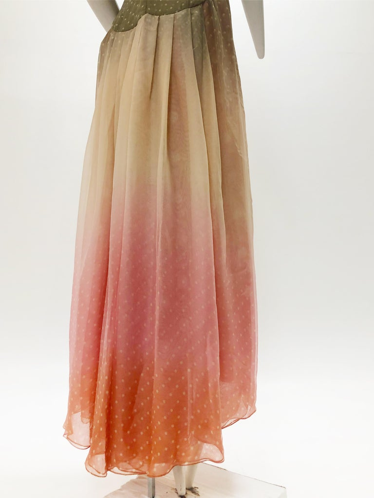 Women's 1970 Bill Blass Ombré Polka Dot Silk Chiffon Gown in Taupe and Pink For Sale
