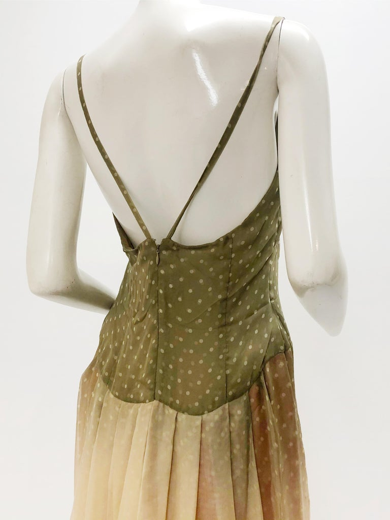 1970 Bill Blass Ombré Polka Dot Silk Chiffon Gown in Taupe and Pink For Sale 1