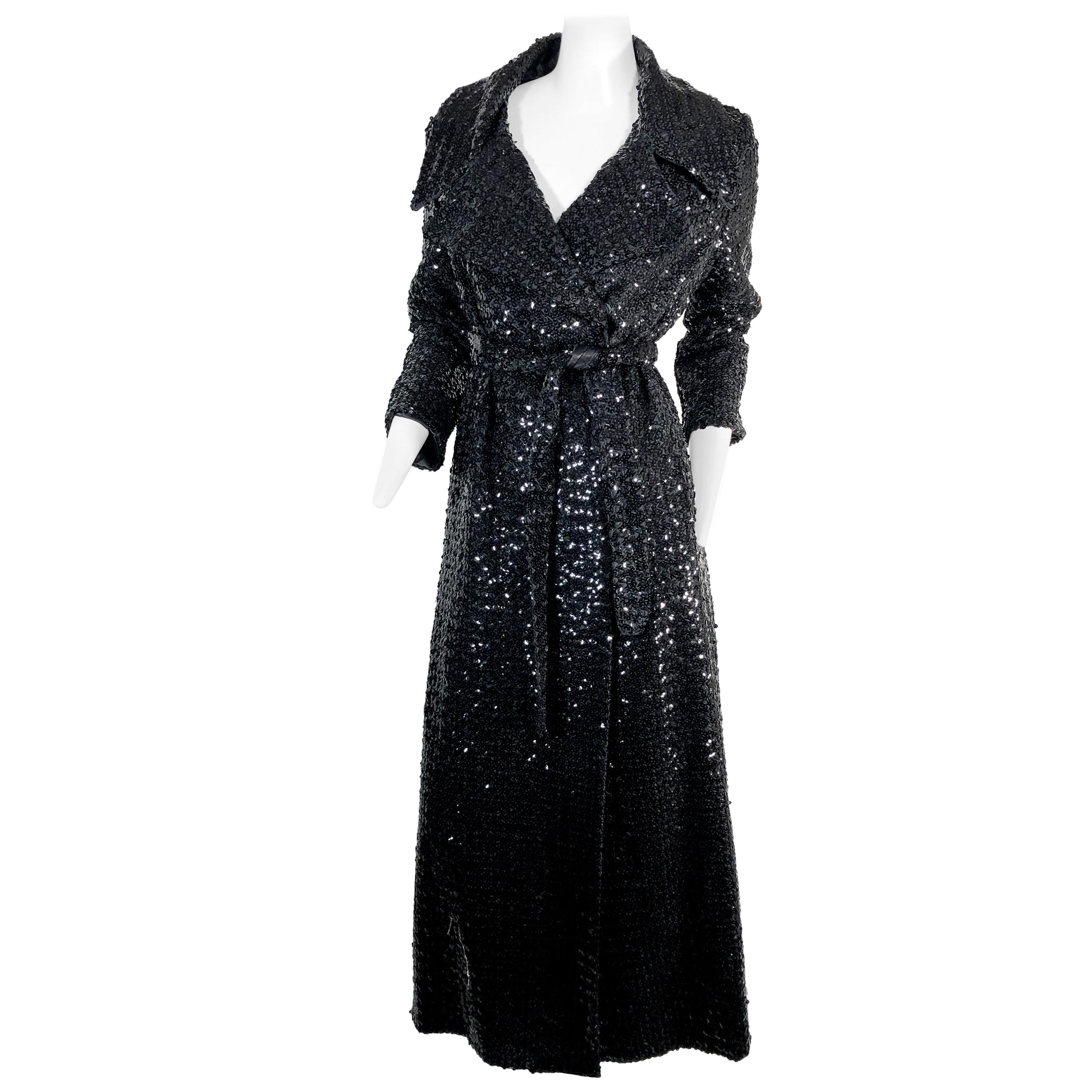 1970 Black Sequined Belted Maxi Trench Coat
