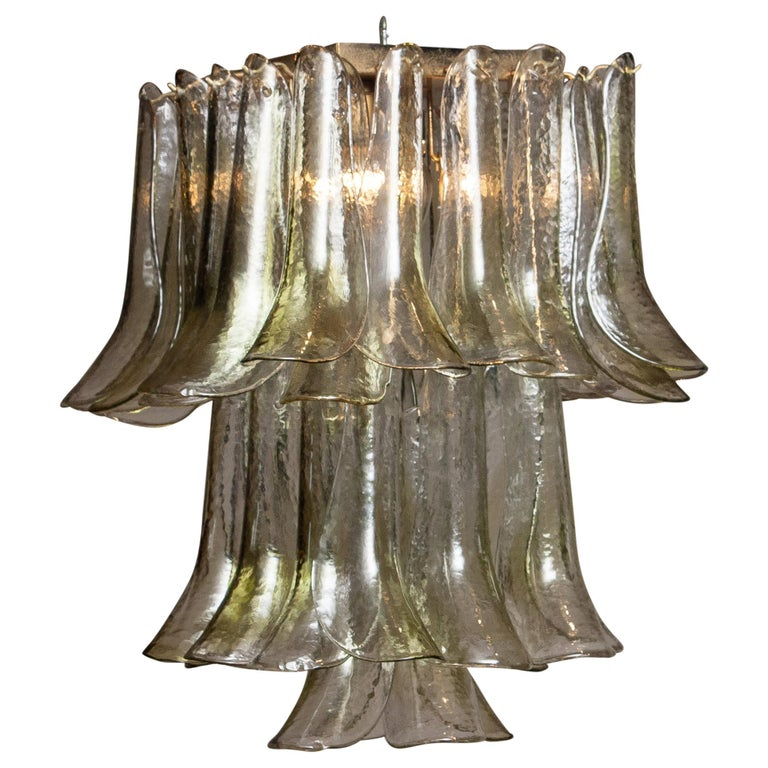 Mid-Century Modern 1970 Bright and Green Tones Clear Crystal Glass Petal Flush Mount by La Murrina