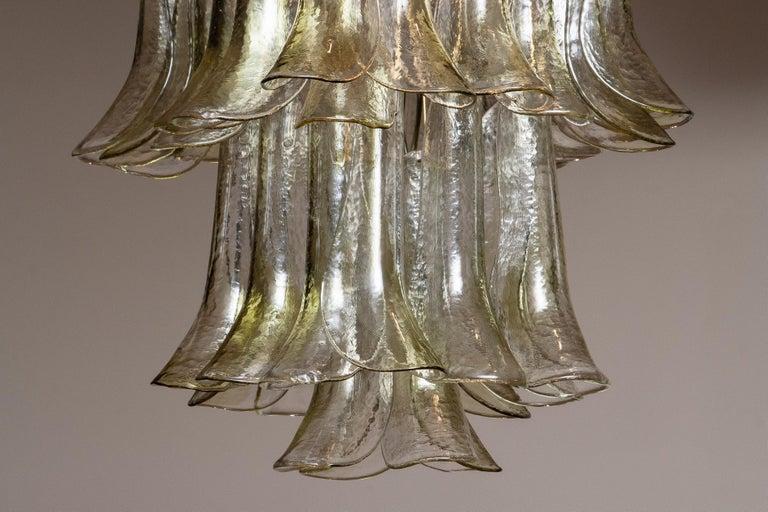 Italian 1970 Bright and Green Tones Clear Crystal Glass Petal Flush Mount by La Murrina