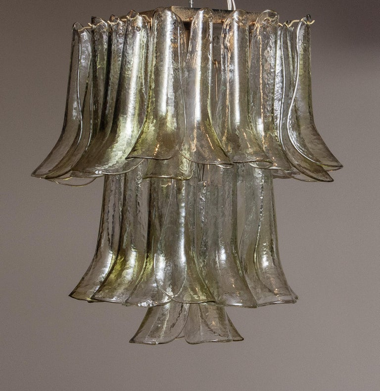 1970 Bright and Green Tones Clear Crystal Glass Petal Flush Mount by La Murrina In Good Condition In Silvolde, Gelderland