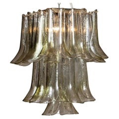 1970 Bright and Green Tones Clear Crystal Glass Petal Flush Mount by La Murrina