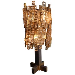 1970 Bright and Particular Brass and Crystal Table Lamp