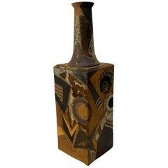 1970 Brutalist Studio Pottery Floor Vase by Inge