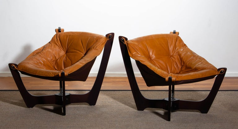 1970, Camel / Cognac Leather Lounge Chair by Odd Knutsen for Hjellegjerde Møbler For Sale 7
