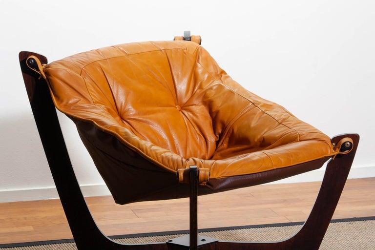 1970, Camel / Cognac Leather Lounge Chair by Odd Knutsen for Hjellegjerde Møbler For Sale 1