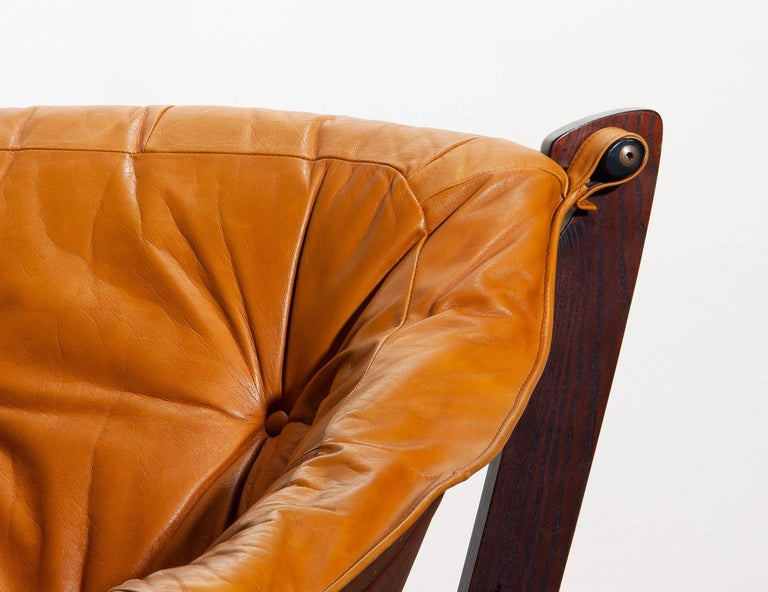 1970, Camel / Cognac Leather Lounge Chair by Odd Knutsen for Hjellegjerde Møbler For Sale 2
