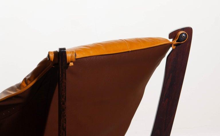 1970, Camel / Cognac Leather Lounge Chair by Odd Knutsen for Hjellegjerde Møbler For Sale 4