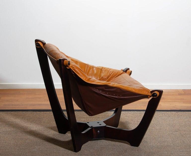 1970, Camel / Cognac Leather Lounge Chair by Odd Knutsen for Hjellegjerde Møbler For Sale 5