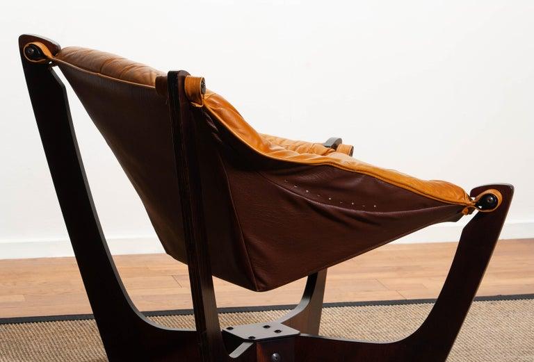 1970, Camel / Cognac Leather Lounge Chair by Odd Knutsen for Hjellegjerde Møbler For Sale 6