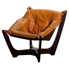 1970, Camel / Cognac Leather Lounge Chair by Odd Knutsen for Hjellegjerde Møbler
