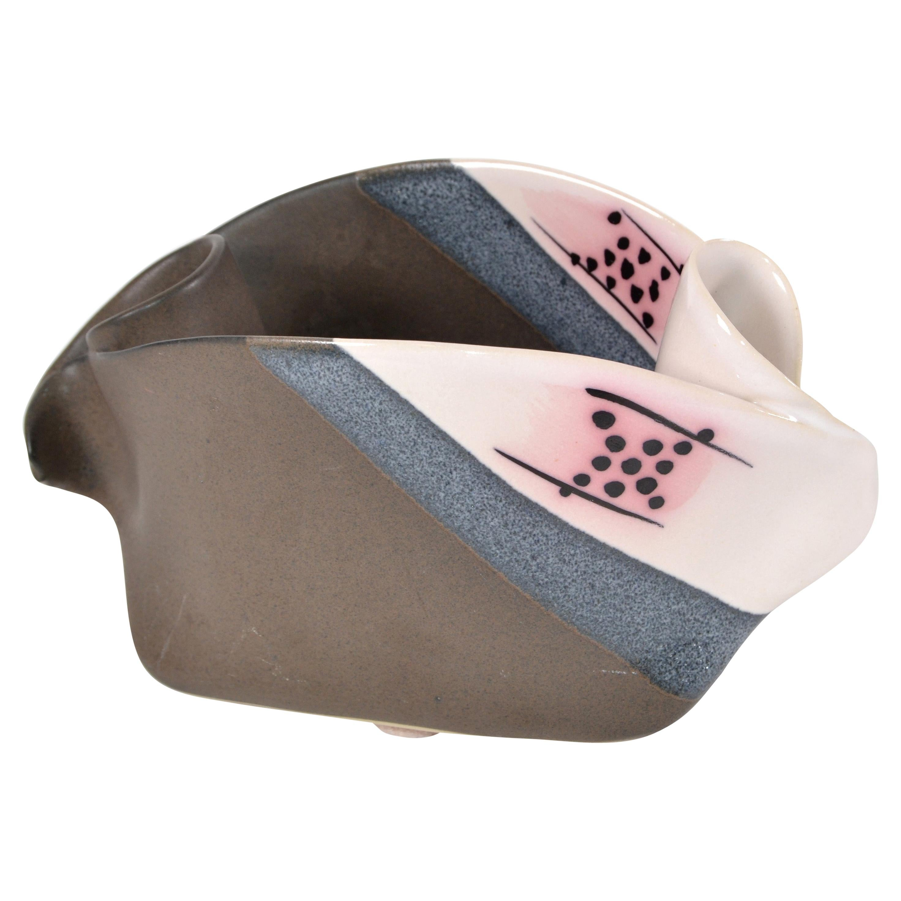 1970 Canadian Freeform Glazed Ceramic Bowl, Pottery Pink, Black, Blue and Gray