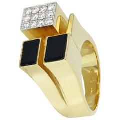 1970 Cartier New York Modernist Onyx Diamond Gold Ring