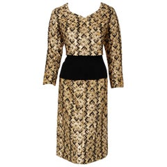 1970 Chanel Haute-Couture Metallic Gold & Black Deco Graphic Silk Dress Ensemble