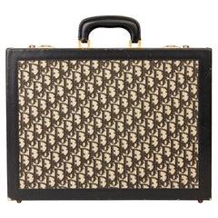 1970 Christian Dior Black Monogram Canvas & Calfskin Leather Vintage Briefcase