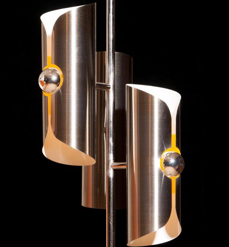 Italian 1970, Chrome and Steel Floor Lamp, Italy For Sale