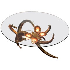 1970 Coffee Table Butterfly in the Style of Duval Brasseur with Wings Agates