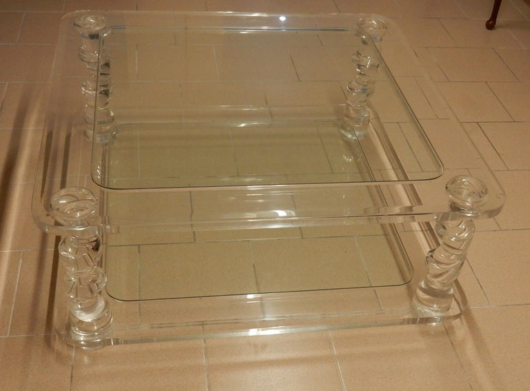 1970 Coffee Table in Lucite Roméo And 2 Ends of Sofa Same Model For Sale 4