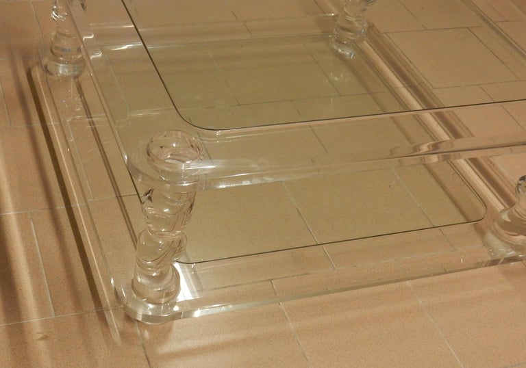 1970 Coffee Table in Lucite Roméo And 2 Ends of Sofa Same Model For Sale 5