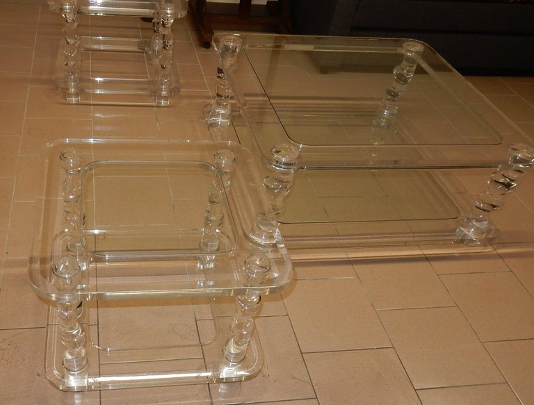 Coffee table in Lucite , 2 glass trays, the frame of the table is beveled, amounts call back an embiellage or one pulls cork, completely knockdown,+ 2 Ends of Sofa Same Model circa on 1970, manufacturing for Roméo,size of side table : 60 X 60 X H 45