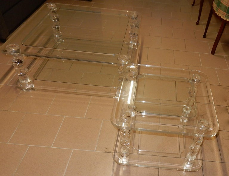 Space Age 1970 Coffee Table in Lucite Roméo And 2 Ends of Sofa Same Model For Sale