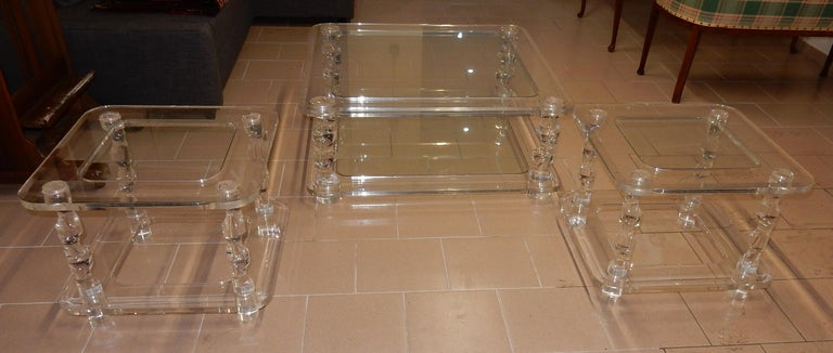 French 1970 Coffee Table in Lucite Roméo And 2 Ends of Sofa Same Model For Sale
