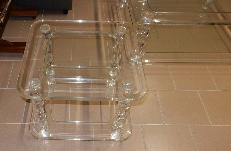 Polished 1970 Coffee Table in Lucite Roméo And 2 Ends of Sofa Same Model For Sale
