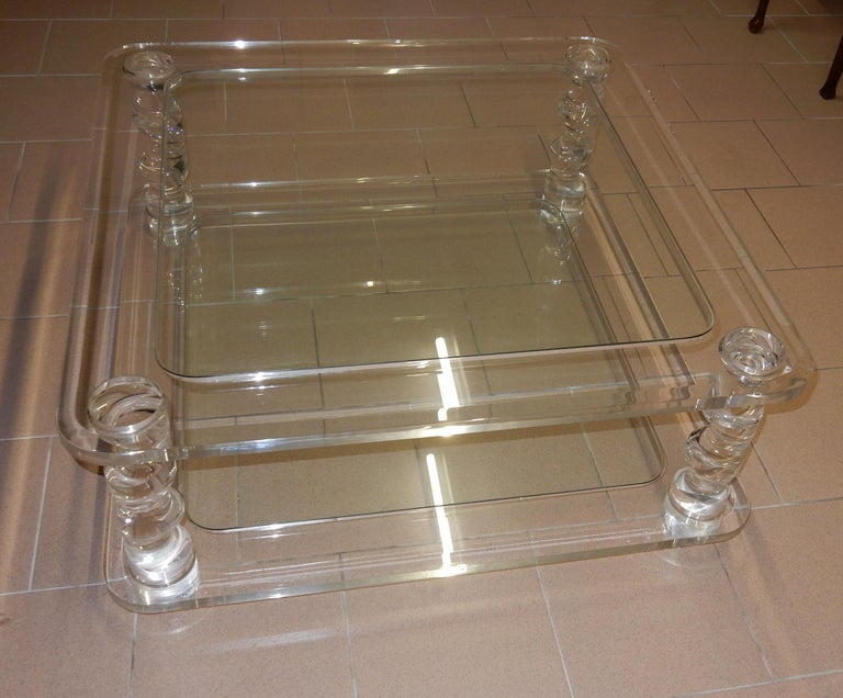 1970 Coffee Table in Lucite Roméo And 2 Ends of Sofa Same Model In Good Condition For Sale In Paris, FR