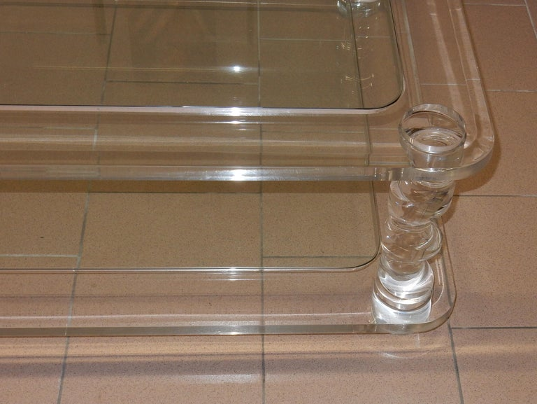 Late 20th Century 1970 Coffee Table in Lucite Roméo And 2 Ends of Sofa Same Model For Sale