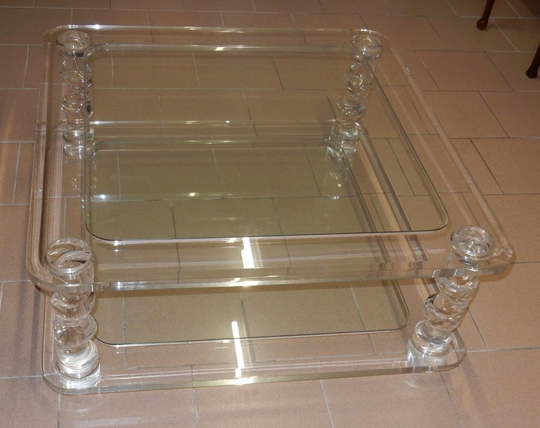1970 Coffee Table in Lucite Roméo And 2 Ends of Sofa Same Model For Sale 2