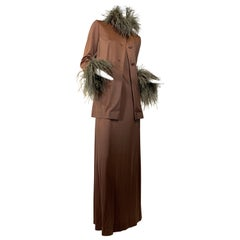 1970 Dior by Marc Bohan Mocha Disco Gown & Slim Jacket w/Ostrich Trim