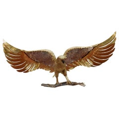 1970 Eagle Lamp with Deployed Wings in Bronze and Purple Mica Signed I Faure